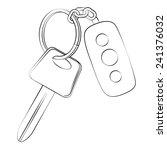 black outline vector car key on ... | Shutterstock .eps vector #241376032
