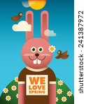 Illustrated spring poster with funny rabbit. Vector illustration - stock vector