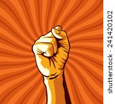 clenched fist held in protest... | Shutterstock .eps vector #241420102