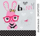 cute bunny girl with glasses... | Shutterstock .eps vector #241437355