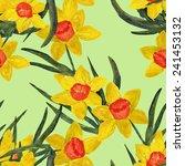 daffodil seamless pattern | Shutterstock . vector #241453132