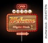 neon sign motel welcome | Shutterstock .eps vector #241457596