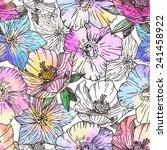 watercolor flower seamless... | Shutterstock .eps vector #241458922
