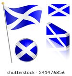 scottish flag on a pole  badge... | Shutterstock . vector #241476856