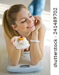 beautiful woman with weights... | Shutterstock . vector #241489702