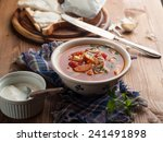 vegetable soup with tomato on... | Shutterstock . vector #241491898