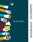 team work flat concept vector... | Shutterstock .eps vector #241496392