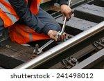 worker tightens the screw on... | Shutterstock . vector #241498012