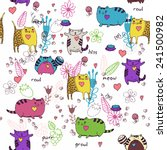 Stock vector cats seamless pattern in doodle style cat and kitten cartoon design vector illustration 241500982