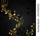 gold music notes on a solide... | Shutterstock .eps vector #241506322