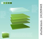 five 3d square layers in green...