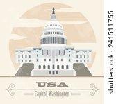 Stock vector usa landmarks retro styled image vector illustration 241511755