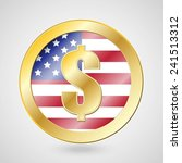 gold coin with dollar sign on... | Shutterstock .eps vector #241513312