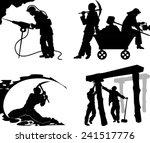 silhouettes of of the miners in ... | Shutterstock .eps vector #241517776