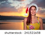 young woman enjoying christmas... | Shutterstock . vector #241521658