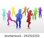 dancing children silhouettes | Shutterstock .eps vector #241522252