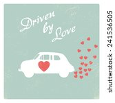 vintage car driven by love...   Shutterstock .eps vector #241536505
