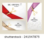 Set of big opening invitation cards with  ribbons and scissors