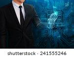 businessman touching glow...   Shutterstock . vector #241555246