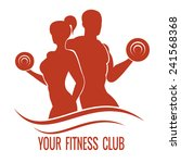 fitness logo with muscled man... | Shutterstock .eps vector #241568368