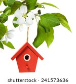 red birdhouse hanging on branch ... | Shutterstock . vector #241573636