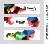 set of banners with watercolor... | Shutterstock .eps vector #241605235