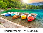 colorful boats on the alpine...