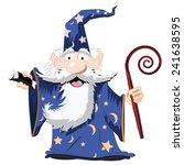 Cute Cartoon Wizard With A Cane ...