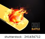 hot red ball in flame on shiny... | Shutterstock .eps vector #241656712