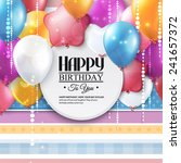 birthday card with colorful... | Shutterstock .eps vector #241657372