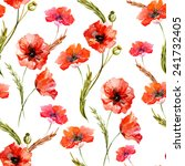 poppy  watercolor  background ... | Shutterstock .eps vector #241732405
