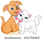 Stock vector dog and cat together dog petting the cat 241756465
