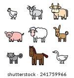 farm animals. set of colored... | Shutterstock .eps vector #241759966