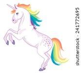 a cartoon unicorn with rainbow... | Shutterstock .eps vector #241772695