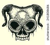 grunge skull with horn isolated   Shutterstock .eps vector #241808686