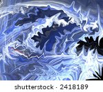 Abstract Blue Design Flame - stock photo
