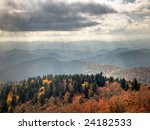 Rays of autumn sunlight over the Blue Ridge Mountains during the fall foliage - stock photo