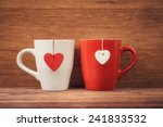 red and white cups with heart... | Shutterstock . vector #241833532