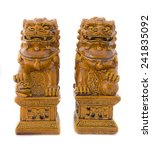 Chinese Lion Statue On White...