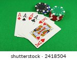 quad aces on a green baize | Shutterstock . vector #2418504