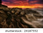 great sunset on the rocks near... | Shutterstock . vector #24187552