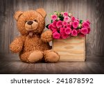 roses in the box and a teddy... | Shutterstock . vector #241878592
