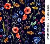 wildflowers  watercolor  poppy  ... | Shutterstock .eps vector #241881808