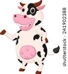 cute cow cartoon waving hand  | Shutterstock . vector #241902388