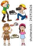 Постер, плакат: Illustration of many photographers