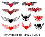 heart tattoos with wings in...