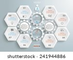 6 hexagons with 4 gear wheels... | Shutterstock .eps vector #241944886