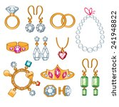 set of jewelry items. gold and... | Shutterstock .eps vector #241948822