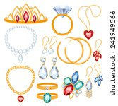 Set Of Jewelry Items. Gold And...