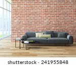 Loft Interior With Brick Wall...